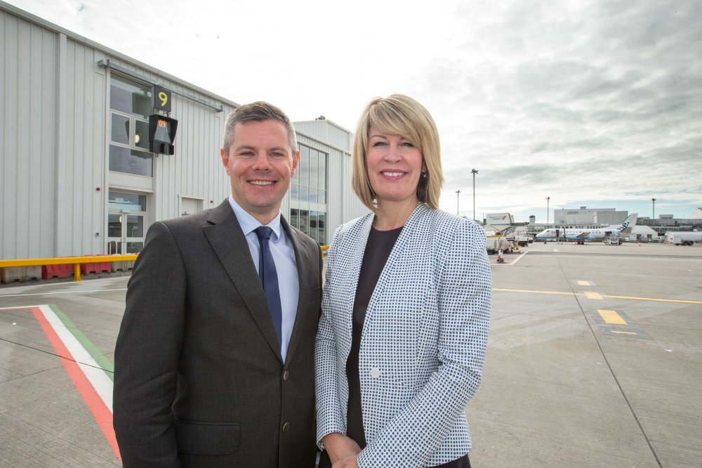 Transport Minister Derek Mackay unveils Glasgow Airports £3.3 Million East Pier extentsion. Also in the image is Amanda McMillian (MD of Glasgow Airport) For more details see press release Pic Peter Devlin
