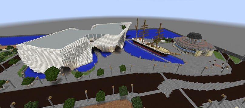 Minecraft model of Dundee Waterfront